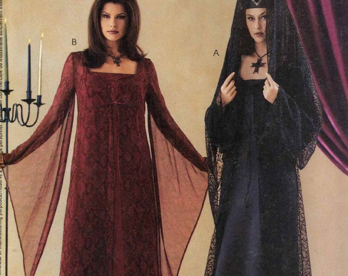 Goth slip dress and hat with veil McCalls 3372 Gothic costume sewing pattern