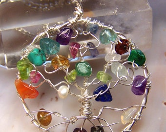 Tree of Life necklace - tree of life pendant - sterling silver - multi colored gemstones rainbow mixed stone - tourmaline amethyst turquoise
