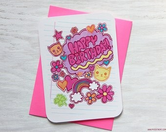 Birthday Card - Teenage Stickers - Notecard, Birthday, Stickers