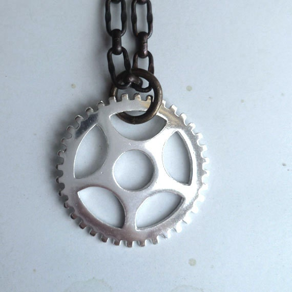 Gear Necklace - Sterling Silver - Chunky - Cogs - Industrial Chic - Unisex - Mens - Urban - Steampunk Gear - Clock Gear Necklace - Pendants