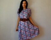 vintage 1980s lavender FLORALS puff sleeve day dress