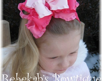 Valentines Day hair bows, pink baby headbands, large hair bows, jumbo hair clips, triple stacked bows, double ruffle bows, little girl bows