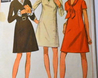 Vintage Sewing Pattern  Simplicity 7766 Misses' Ruffled A Line Dress  Bust 38 Inches Complete