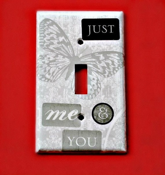 Gray Butterfly Switchplate Just Me and You Collage Light Switch Cover Grey Home Decor