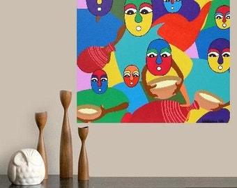 "Africa -  Feeding the children  (series of 5)... original painting, 19.7x19.7"", 50x50 cm, acrylics, wood, culture, tribal, fantasy"