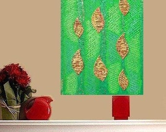 "Elegance of Leafs 3D... original painting, 11.8x15.7"", 30x40 cm, acrylics, structure paste, cardboard, abstract, fantasy"