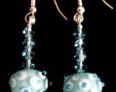 K-Glass blue white lampwork earrings Swarovski crystals sterling silver bumpy beads polka dot