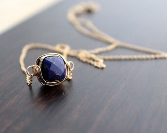 Lapis Lazuli Necklace In 14K Gold Filled , Rose Gold , Bezel Wrapped Gemstone , Minimalist Navy Blue Fashion