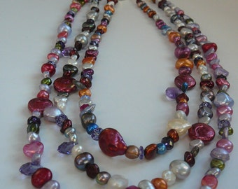 3-Strand Pearl and Gemstone Necklace with Matching Earrings - Shades of Pink