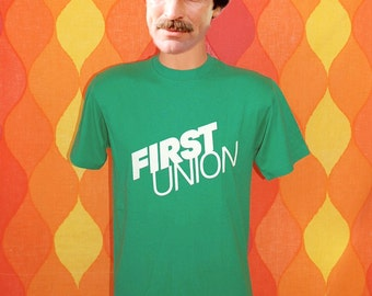 vintage tee shirt 80s FIRST UNION bank charlotte rain tree tennis t-shirt Medium defunct green preppy