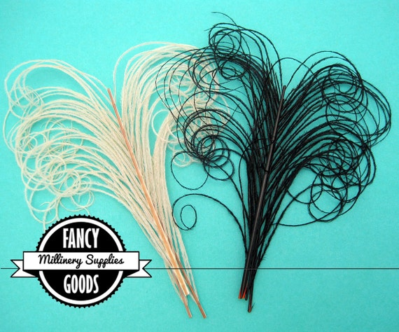 4 - Curled - Peacock Stems - Feathers - Sprigs - Black / Ecru - Millinery - Boutonnieres