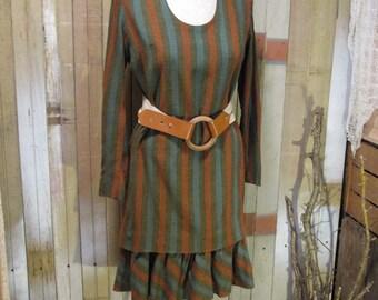 60s vintage Dress Young Edwardian 20s flapper Style dress Rust Blue Stripe Shift  Brown stripe dress S
