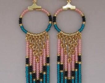 SALE - Seed Bead Chain Hoop Earrrings - Light Peach/Dark Teal