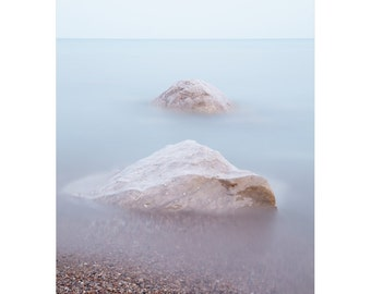 Zen Wall Art - Soothing Beach Rocks in Water - Minimalist Landscape - Wellness Photography - Blue Lake House Decor - Bedroom Art - Bayfield