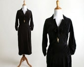 Vintage 1940s Black Velvet Dress - 40s Bias Cut Tassle Bow Dress - Fitted Gathered Hips - Small XS