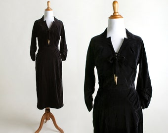 Vintage Velvet Dress - 1940s Bias Cut Tassle Bow Dress - Small XS