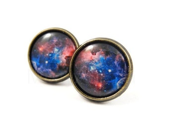 Galaxy Earring Studs, Space Earrings, Astronomy Constellation Jewelry, Space Nerd, Pink Blue Nebula Studs, Planet Universe Earrings (E124)
