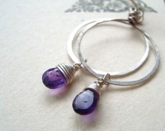 Amethyst Hoop Earrings - Small. February Birthstone Sterling Silver Gifts For Her Gemstone Jewelry Purple Earrings Modern Bridesmaid