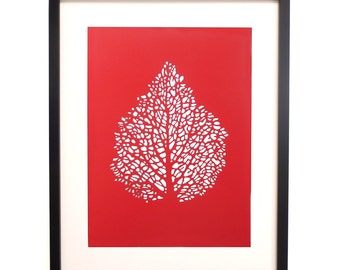 Wall Decor Papercut Leaf Skeleton in Red