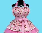 "Apron - Cupcake Apron - "" 3 Layer Cherry Cupcake "" Womens Apron Costume Apron MADE TO ORDER"
