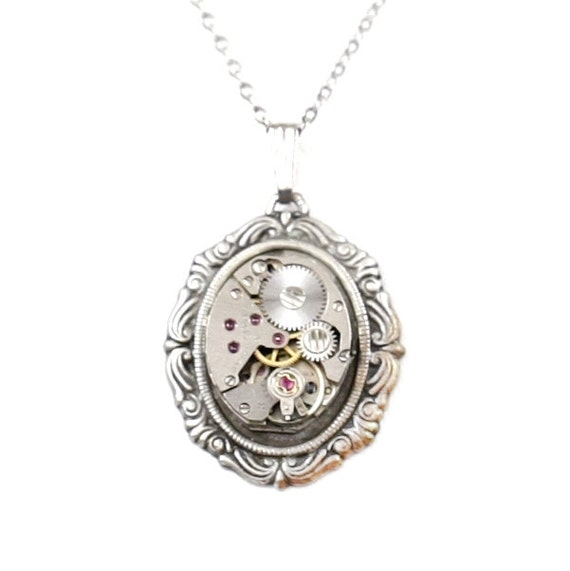 Steampunk Gothic Lolita Antiqued Silver Victorian-Style Necklace with Vintage Watch Movement by Velvet Mechanism