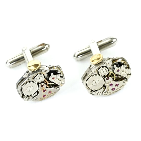 Steampunk Silver Cufflinks with Perfectly Matched Wittnauer Vintage Watch Movements and Brass Winding Stems by Velvet Mechanism