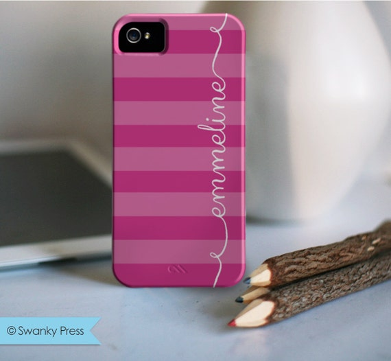 "personalized custom iPhone 5 cell phone case - ""pink ribbons"""