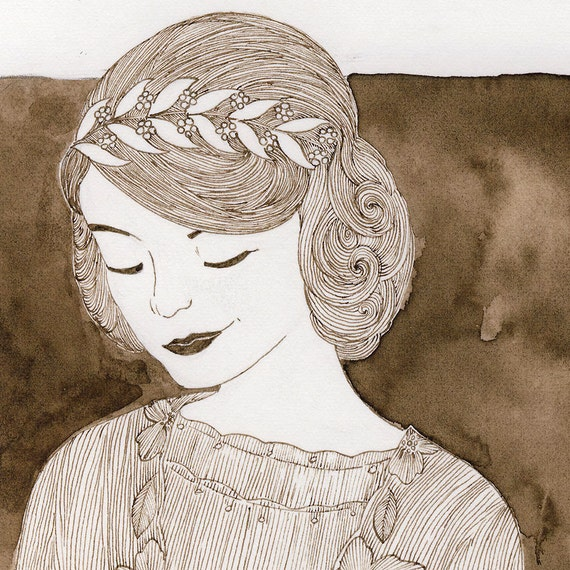 Downton Abbey original ink fashion illustration by Yardia - Lady Mary Crawley, 1920s fashion