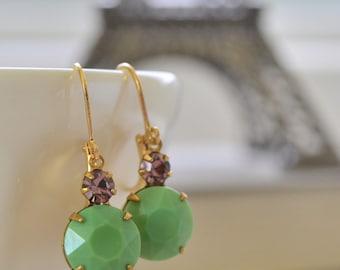 Jadeite Green and Amethyst Rhinestone Estate Lever Back Earrings, Vintage Green Glass Earrings, Bridesmaid