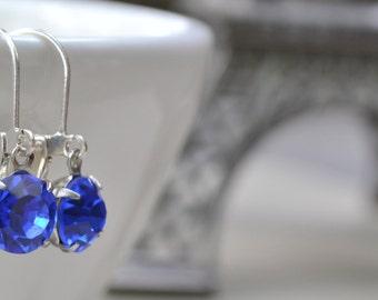 Sapphire Blue Swarovski Earrings, Silver-Tone Lever Back, September Glass Birthstone Earrings