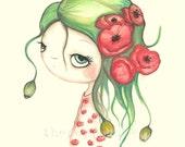 Poppy Print Flower Girl---Red Whimsical Poppy Portrait ---Poppies