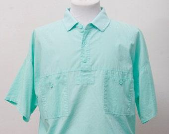 Men's Shirt / Vintage Turquoise Summer Shirt / Size Large
