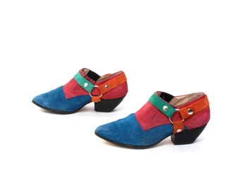 size 8.5 COLORBLOCK patchwork leather 80s HARNESS MOTO ankle boots