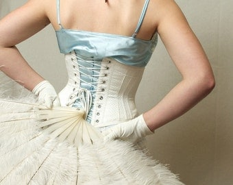Wedding Lingerie, Underbust Corset, white cotton coutil