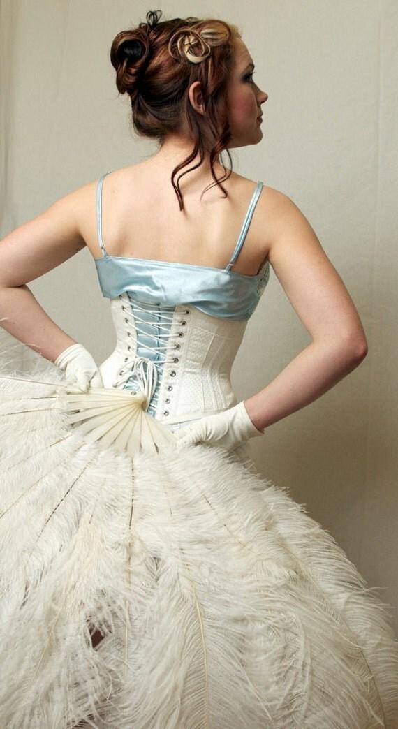 Wedding Lingerie  Underbust Corset  white cotton coutilLingerie Corset Underbust