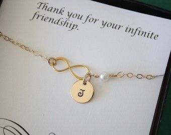 Personalized Infinity Bridesmaid Bracelet, Infinity Eternity Jewelry, Bridesmaid Gift, Bridesmaid Thank You Card, White Pearl, Gold Bracelet