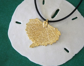 Gold Real Leaf Necklace, Cottonwood Leaf Jewelry, 24kt Gold Pendant, Leaf Jewelry, Mothers Day Gift, Bridesmaid Necklace, 9