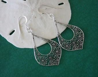 Flower Sterling Silver Earrings, Silver Earrings, Flower Earrings, Hoop Earrings, Dangle Earrings