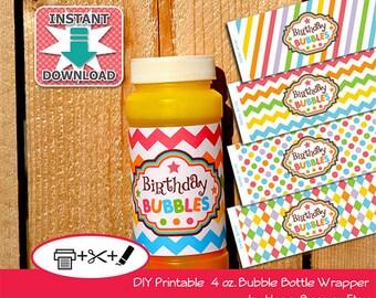 Birthday Bubbles INSTANT DOWNLOAD Printable 4oz Bubble Bottle Wrapper - PDF (Non-Personalized)
