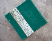 Reserved for SparklingGlow: Jade Green Glass Plate, Faux Bois decor, Fused Glass Plate