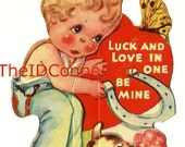 """1940's Valentine Card, """"Luck and Love in One, Be Mine"""", Lucky Horseshoe Game, Dog, Bib Overalls"""