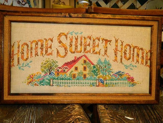 Needle Point Sampler Vintage Home Sweet Home By