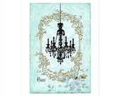Chandelier print, French, vintage chandelier, home decor, silhouette, blue damask, Paris, vintage style, wall hanging, blue