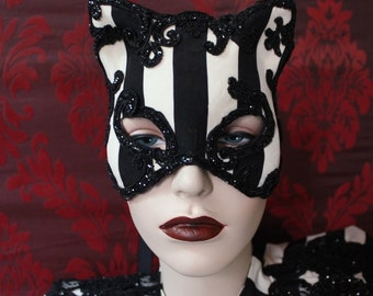 Circus of Dreams Cat Mask  - Striped Satin Kitty Cat Mask with Glitter lace detail. To order