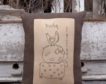Farmhouse Animal Pillow | Primitive Friends Handstitched Pillow With Homespun Border