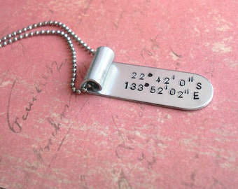 """GPS LAT / LONG Aluminum Banner - Hand Stamped Scroll Pendant, antiqued charm, 24"""" Necklace included - Brushed Silver Nickel Look"""