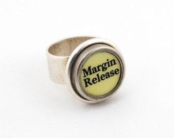 Typewriter Ring - Authentic Vintage White Margin Release Key - Fully Adjustable