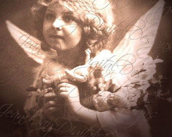Angel, Sweet Angelica holding dolls, Instant Download, French Postcard 1914  - FC061