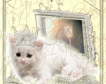 The Kitten and the Ballerina,  French Postcard Digital Collage, Postcard Tag - Instant Digital Download FrA151