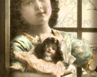 Mareille Jeanne with her doll - Lovely Young Girl,  French Postcard Instant Download - Photo Scan  FrA160